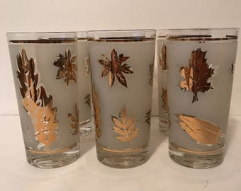 Libbey Golden Foliage Glassware, Gold Leaves On Frosted Band, Flat Tumbler, Gold Trim, 12 Oz., Drinkware, Retro, Mancave, Home Bar,