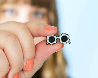 Blue Sunnies Pin - SECONDS SALE - Enamel Pin - Handdrawn Pin - Flower Sunnies - Glasses Pin - Sunglasses Pin - Flower - Girl Gang - Pin Game