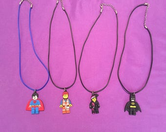 4-pc The Lego Movie PVC Kids Necklaces or Keychains, Party Favors