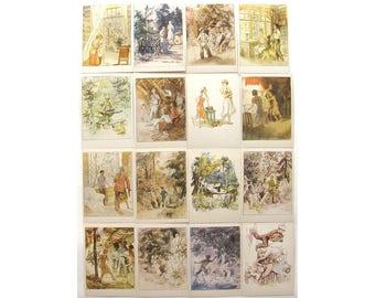 Timur and his Gang, Arkady Gaidar, Set of 16 Postcards, Illustration, Soviet, Mazurin, USSR, 1985
