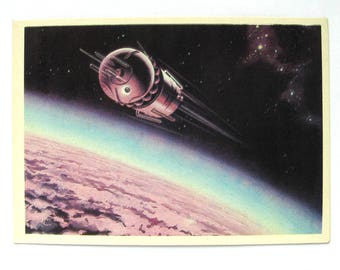 Space, Postcard with painting by Viktorov, Space, Spacecraft at orbit, Vostok, Earth, Unused, Unsigned, Soviet Vintage Postcard, USSR, 1971