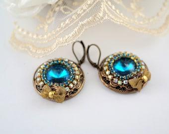Gold blue earrings victorian earrings big round earrings victorian jewelry boho earrings gold earrings blue big earrings brass earrings