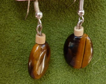 earrings with a flat yellow Tiger eye bead