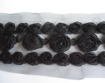 Lace black tulle with black roses pattern