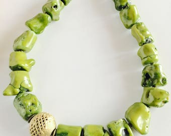 Africa Inspired Genuine Green Coral and Brass Statement Necklace