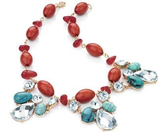 Turquoise and Coral Colour Bead Gold Statement Necklace