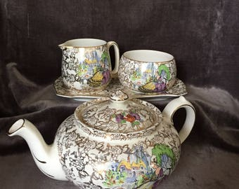 Lord Nelson BCM Pampadour teapot tray cream and sugar set