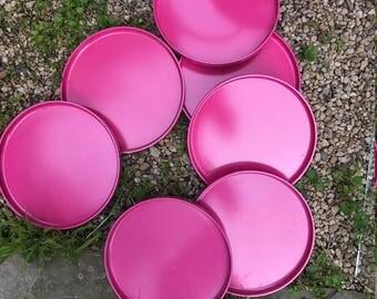 7 Pink Massimo Vignelli Heller Plates Vintage Mid-Century Post Modern