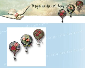 Up Up and Away, Cover banner and Shop Icon, instant download, hot air balloons, dove, sky, roses, flight, vintage theme
