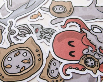 Deep Sea Diver Stickers, Cute Cats, Journaling, Sticker Flakes, Stationery, Scrapbooking, Paper Stickers, Funny Cats, Octopus, Fish, Ocean