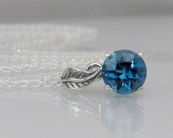 London Topaz Necklace, London Blue Pendant, 7mm London Blue Topaz Gemstone, Sterling Silver, London Blue Topaz Jewelry, December Birthstone