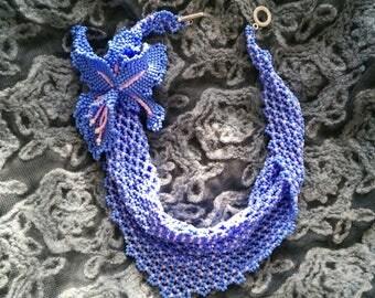 Blue Beaded Scarf  with Iris