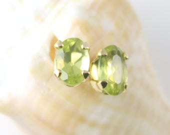 Peridot Earrings, Gold Plated, Stud Earrings, Gemstone Earrings, Peridot, Gold Plated Earrings, Green Earrings, August Birthstone