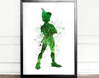 Peter Pan Print, Peter Pan Poster, Watercolor, giclee art print, Disney inspired, Peter Pan Nursery Decor