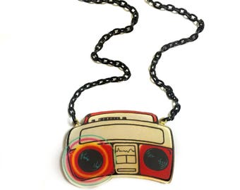 Radio Tape for Compact Cassette, Retro, Vintage, Pop Art style 80's -90's , R&B, Hip Hop, Cool, Geeky, Gift Statement necklace