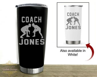 Wrestling Coach Gift - Dishwasher Safe Coach Mug - Personalized Gift for Coach - Engraved Stainless Steel coffee tumbler - Christmas Gift