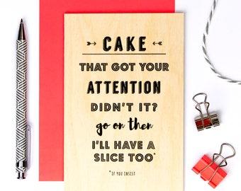 Funny Wooden Birthday Card; Cake Card; Keepsake Birthday Card; Wood Card; Friendship Card; Let's Celebrate; GC637