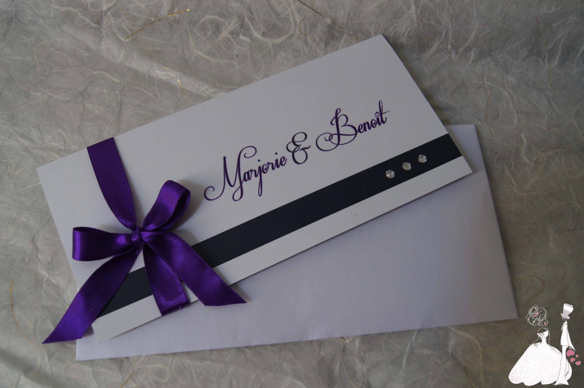 faire part mariage chic violet. Black Bedroom Furniture Sets. Home Design Ideas