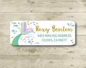 Mermaid Tail, Under The Sea, Gold Accent, Return Address Label, Personalized, MATTE, All Occasions, Beach, Ocean, Fish, Bubbles