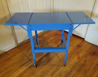 Vintage Industrial Typewriter Table, Metal Rolling Table, Rolling Cart,   FREE SHIPPING