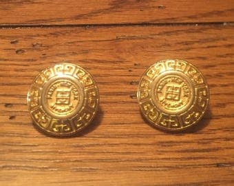 Signed Givenchy Pierced Earrings Gold Tone LOGO Paris New York runway