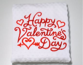 "Valentine Kitchen Towel, Valentine Gift, Valentine Decor, Happy Valentines Day, Dish Towel, Valentine Hostess, February Birthday  ""Hearts"""