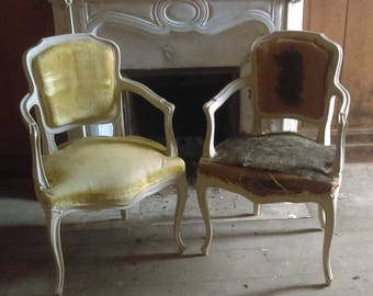 Antique French Louis pair of painted show frame fauteuil armchairs for re-covering upholstery project