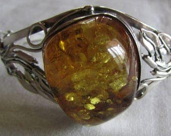 Amber and Sterling Silver Hinged Cuff Bracelet