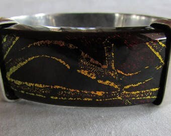 Sterling Silver and Art Glass Hinged Bangle  Bracelet