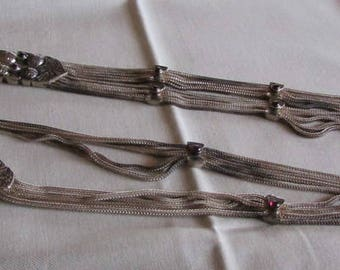 Sterling Silver Foxtail and Garnet Necklace from Turkey with Front Tassel