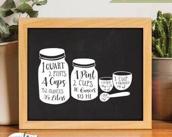 Farmhouse Sign, Measurement Poster, Rustic Home Decor, Measurement Conversion, Farmhouse Print, Kitchen Signs, Art for Kitchen, Printable