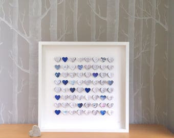 Wedding guest book alternative. Alternative wedding guest book. Blue wedding decor. 64 hearts - MEDIUM SIZE. Personalised wedding gift.