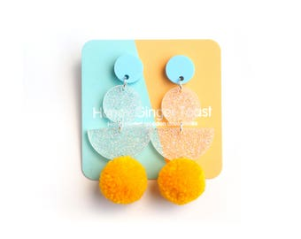 PomPom Earrings - Drop Earrings - Pastel Earrings - Pom Pom Earrings