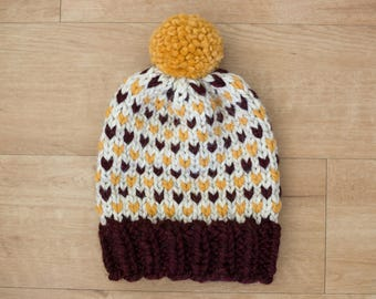 Maroon Gold White Fair Isle Knit Winter Hat +PomPom/U of M Gophers