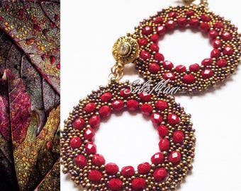 "Earrings in weaving beads and crystals ""Medea"" red and bronze"