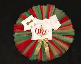 Girl's Birthday Outfit- First birthday outfit- tutu- christmas birthday outfit- christmas tutu- one- christmas tree- red and green tutu- 1