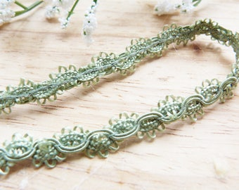 Headband romantic Pearl effect seagreen color