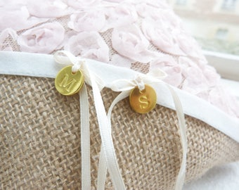 Rustic burlap and pale pink lace wedding pillow