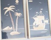 Set Vintage Strohbild Wandbild DDR Segelboot Segelschiff Schiff Palmen Bild 60er 50er Meer DDR Stroh Scherenschnitt