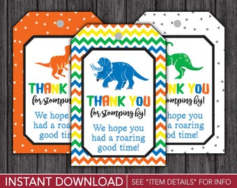 Dinosaur Favor Tags - Dinosaur Thank You Party Favor Tags - Printable Digital File - INSTANT DOWNLOAD