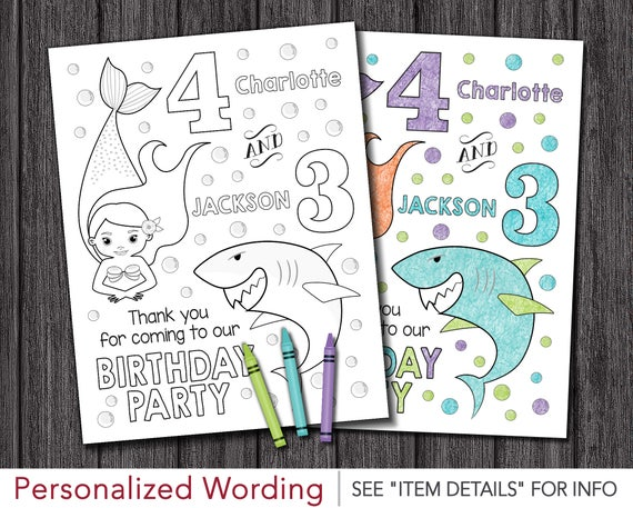 Mermaids And Sharks Birthday Coloring Page