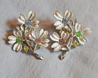 Vintage Clip Earrings - Emmons, Pat. Pending, White Flowers with Rhinestones, 1950s