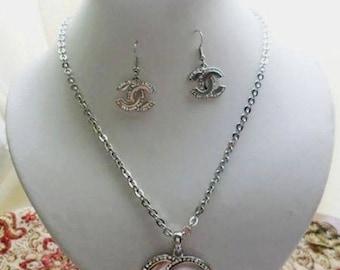 inspired chanel cc parure silver rhinestone handmade jewellery metal