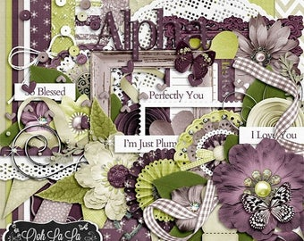 On Sale 50% I'm Just Plum Crazy About You Digital Scrapbook Kit