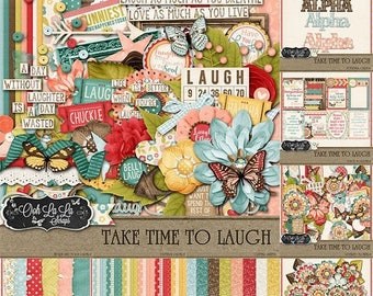 On Sale 50% Take Time To Laugh 12x12 Digital Scrapbooking Kit Buncle Collection
