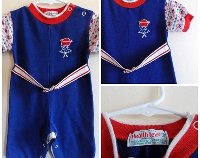 Featured listing image: 60s Boys Onesie, Sailor Suit, Navy, US NAVY, Red, White, Blue, Healthtex, Size 12 Months, 1960s, Short Sleeve, Snap Crotch, Vintage Baby