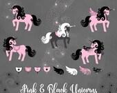 Pink and Black Unicorns Clipart, cute unicorn vectors, unicorn birthday clip art, magic pegasus png instant download commercial use