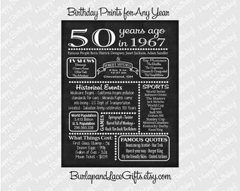 1967 -- 50th Birthday or Anniversary Chalkboard Poster, DIGITAL FILE ONLY, Perfect Gift, Color Customizable, 50 Years Ago Sign  (2-45)