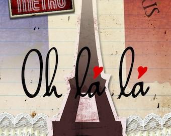 "Greeting card ' PARIS ""handmade 21cm x 15cm"