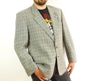 MISSONI Uomo blazer, Size XL, Made in Italy, houndstooth Missoni blazer, Notch type suit jacket, beige black striped brown blue
